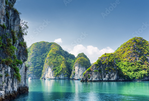 Beautiful azure water of lagoon in the Ha Long Bay, Vietnam Canvas Print