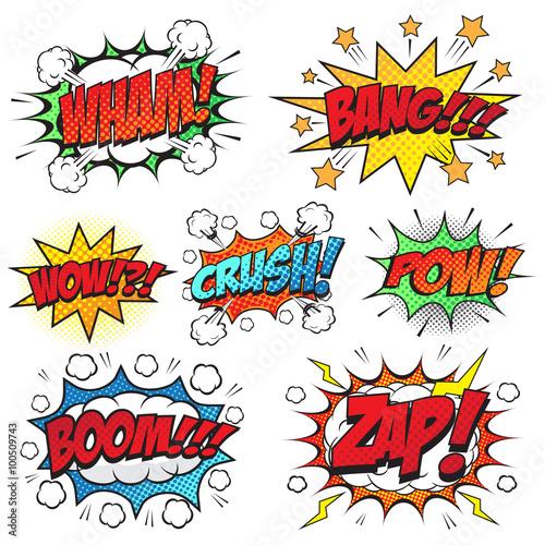 Fotografie, Obraz  Comic speech bubbles set, comic wording sound effect set design for comic backgr