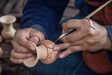 Man Painting On Vase ,Ban Chiang, Udon Thani Thailand