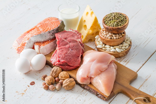 Selection of protein sources in kitchen background Fototapeta