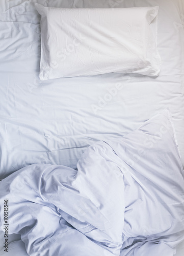 Unmade Bed mattress white Duvet with pillow and blanket Top ...