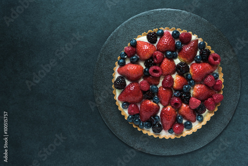 Fresh berry fruit tart, overhead view Wallpaper Mural