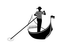 Gondolier - Silhouette Noir Et Blanc