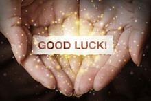 Good Luck Text On Hand