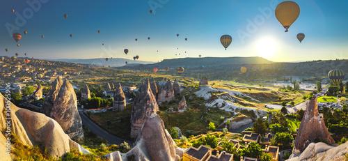 Leinwand Poster Cappadocia valley at sunrise