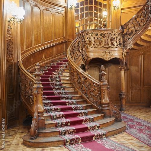 Vintage wooden spiral staircase