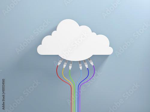 Foto  Informatique en nuage et câbles ethernet