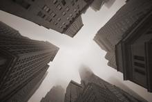 New York City Skyscrapers In Fog
