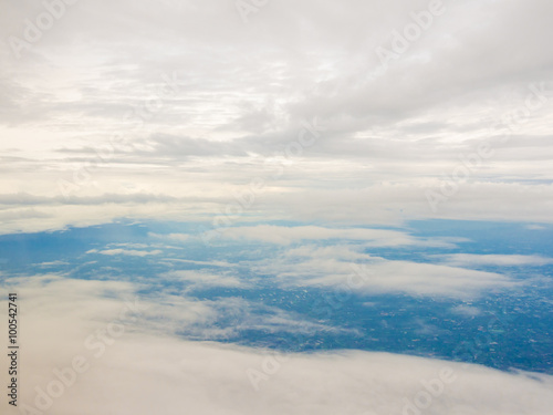 Canvas Prints Countryside blue sky background with white clouds
