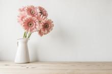 Flowers On Grunge White Backgr...