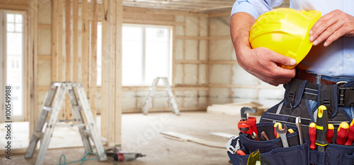 Obraz Builder handyman with construction tools. - fototapety do salonu