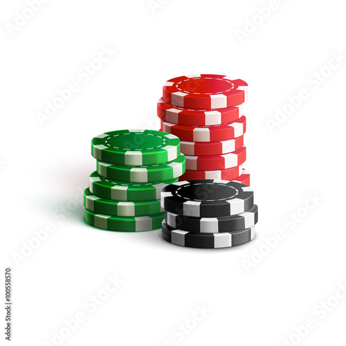 Fotografía  casino chips isolated on white realistic theme