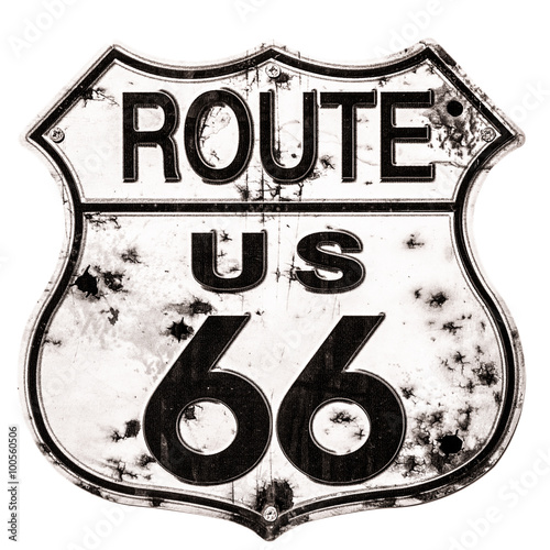 Foto auf Leinwand Route 66 Old rusted Route 66 Sign