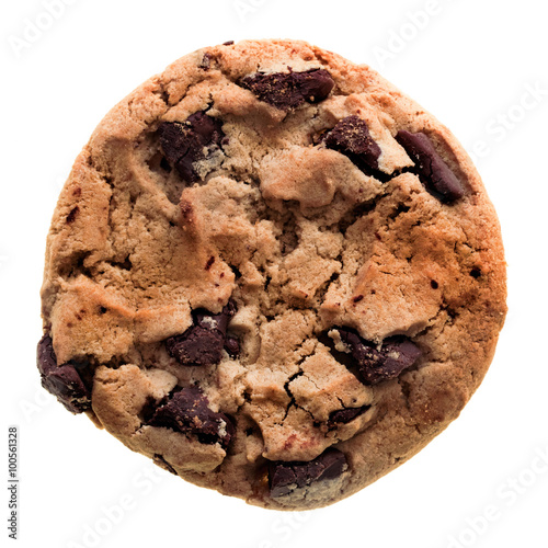 Tuinposter Koekjes Chocolate chip cookie isolated on white background.