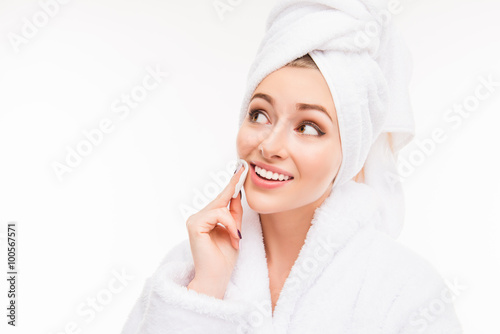 Fotografie, Tablou  Pretty girl with towel on her head wash off makeup