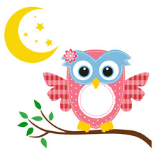 Owl Pink On A Branch And Moon