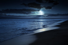 This Photo Illustration Depicts A Quiet And Romantic Moonlit Beach In Maui Hawaii.
