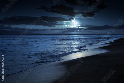 This photo illustration depicts a quiet and romantic moonlit beach in Maui Hawaii Canvas-taulu