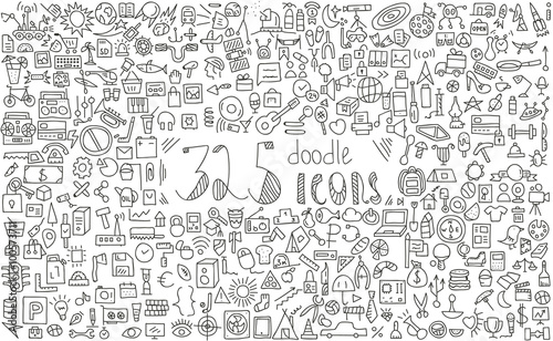 Obraz 325 doodle icons.business, finance, science, tourism and travel, food and more. - fototapety do salonu