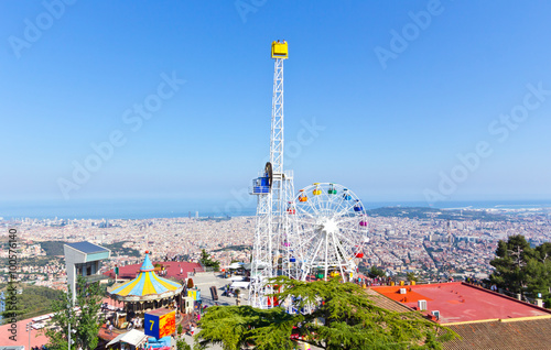 Poster Amusementspark Barcelona Tibidabo Freizeitpark