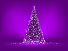 Abstract Purple Christmas Tree On Purple. EPS 8