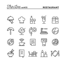Restaurant, Phone Ordering, Meal, Receipt And More, Thin Line Icons Set
