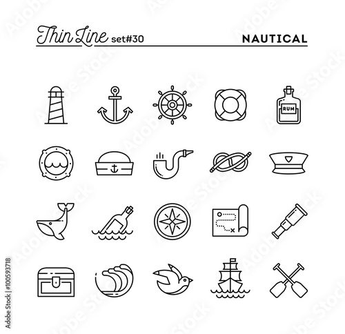 Fotomural Nautical, sailing, sea animals, marine and more, thin line icons set