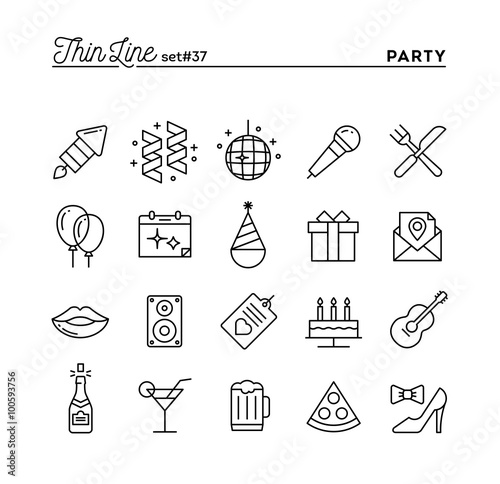 Party, celebration, fireworks, confetti and more, thin line icons set