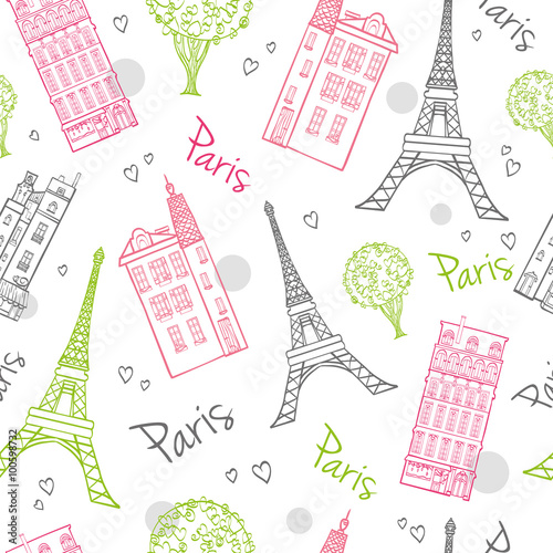 Photo Vector Travel Romantic Paris Streets Seamless Pattern with Eifel Tower, houses, trees and hearts
