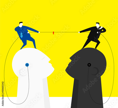 Battle of wit / Two businessman stand on brains,they are tug of war Wallpaper Mural