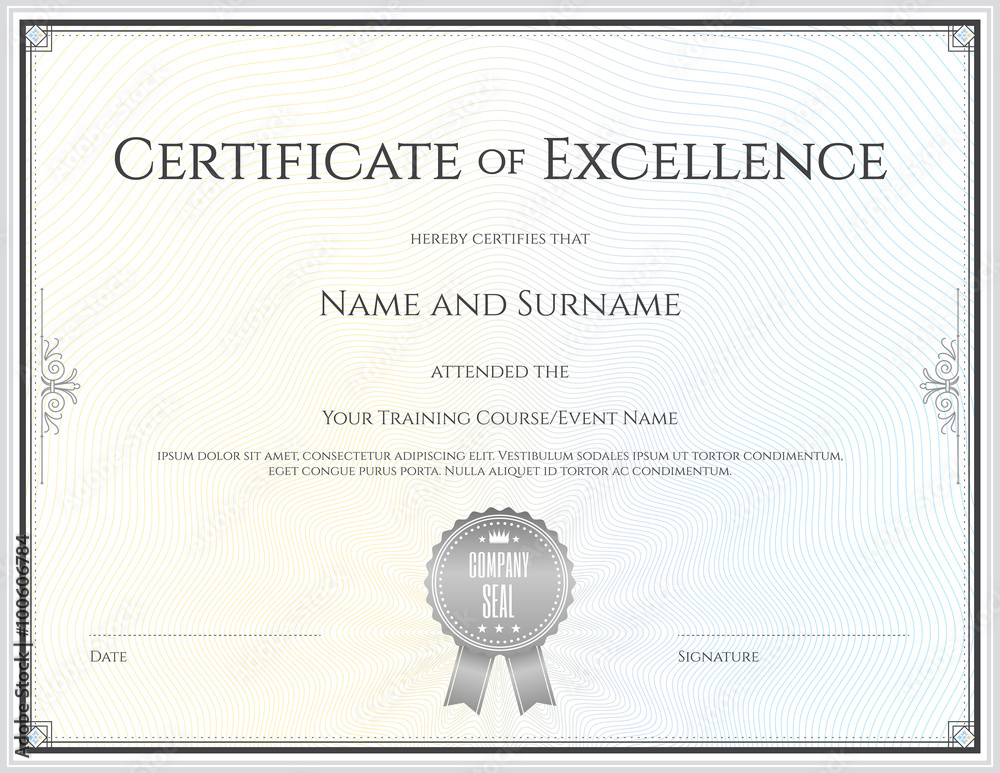 Fototapety, obrazy: Certificate template in vector for achievement graduation comple
