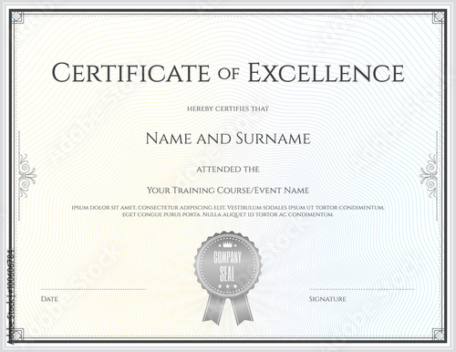 Fotografía  Certificate template in vector for achievement graduation comple