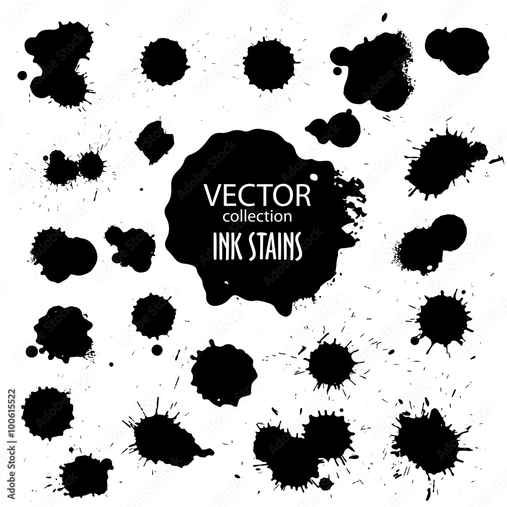 Fototapety, obrazy: Vector collection of various ink splatter