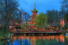 Evening View Of Chinese Pagoda...