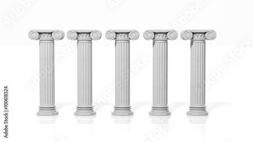 Pinturas sobre lienzo  Five ancient pillars, isolated on white background.