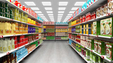 Supermarket Interior With Shel...
