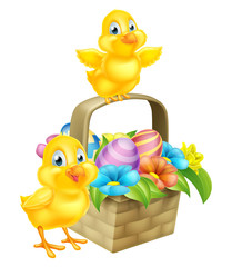 Naklejka Cartoon Chicks and Easter Eggs Basket
