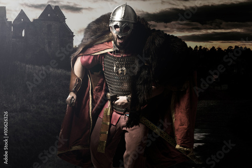 Shouting viking with sword and helmet before castle and sunset g Poster