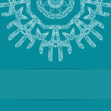 Turquoise Blue Card With Ornate Pattern And Copy Space