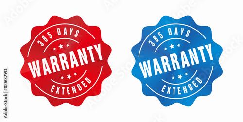 Fotografia  Vector Warranty 365 Days Badge
