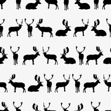 Fallow Deer Black Silhouette Seamless Pattern Eps10