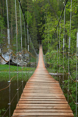 Obraz na PlexiWooden suspension bridge over the river in the forest