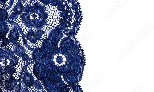 Valokuva  blue lace on a white background