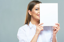 Business Woman Hide Face Behind White Sign Board