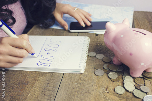 woman and piggy bank Tapéta, Fotótapéta