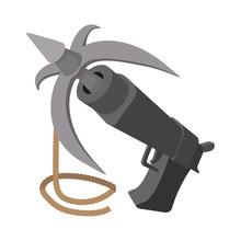 Gun With Grappling Hook Cartoon