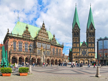 Panoramic View Of The Bremen Market Square With City Hall And Bremen Cathedral, Germany