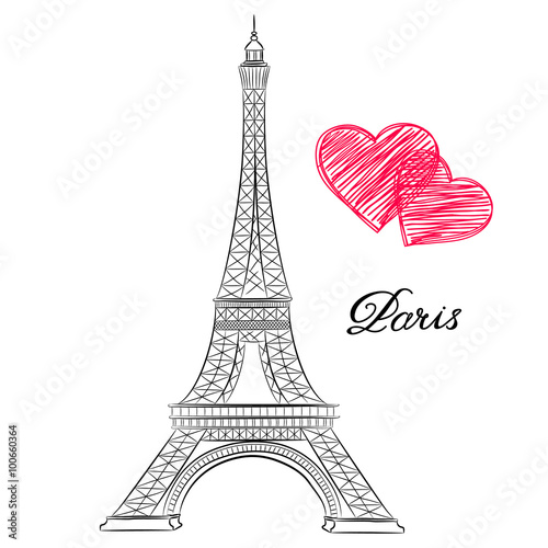 Photo sketch of Paris, Eiffel Tower  with hearts. Vector illustration