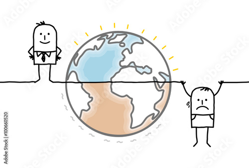 Fényképezés cartoon Earth and humans divided into two unequal parts