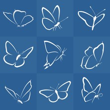 Vector Nine Butterflies
